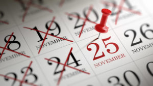 November 25 written on a calendar to remind you an important appointment.